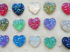 15 X Sparkly Glitter Love Hearts - Flat Back Resin/Cabochons (Gem/Bling) 14mm