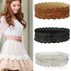 Cool Pretty Vintage PU Hollow Flowers Lace Bowknot Waist Wide Waistband Belts