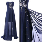 New Women's sexy Fairty & Split Design Chiffon Evening Beaded Gown Party Dresses