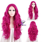"""18""""-28"""" Long Hot Pink Curly Wavy Lace Front Wig Heat Resistant"""