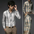 New Grid Men Slim Fit Shirt Daily Wear Fitted Casual Button Collard Dress Shirts
