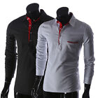 Mens Chic Dots Pattern Slim Fit Long Sleeve Party Shirts Tops 2 Colors Size XS~L