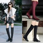 Womens Sexy Lycra Stretchy Pointed Toe Studded Flat Over The Knee Riding Boots