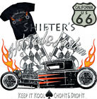 Shifter's Hot Rod T-Shirt Kustom Parts Garage Rockabilly Route 66 US Flames BLK