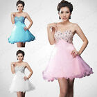 Formal Short Evening Ball Gown Party Prom Bridesmaid Mini Dress Stock Size 8-18