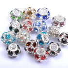5pcs Quality CZ Crystal Rhinestone European Big Hole Charms Beads Fit Bracelets