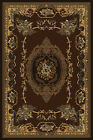 BROWN european FLORAL carpet TRADITIONAL beige BORDER french MEDALLION area RUG
