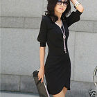 Fashion Simple Style Women's Fitted V-neck Short-sleeve sexy dress