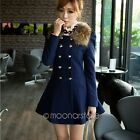 Women Winter Warm Double Breasted Lapel Long Trench Slim Coat Jacket Outwear Top