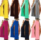 New Hot Sexy Women's High Waisted Double Slits Open Rayon Knit Long Maxi Skirt