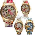 Women Lady Designer Style Flower Print Rose Gold Dial Floral Flower Wrist Watch