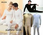 MENS 100% PURE SILK KNITTED LONG JOHNS SET WARM THERMAL UNDERWEAR HEAVY WEIGHT