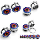 2x Purple Eye Steel Screw Flesh Tunnels Ear Plugs Expander Stretcher Earlets New
