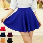 Elegant Women's Candy Color Stretch Waist Plain Skater Flared Pleated Mini Skirt