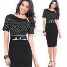 Womens Pinup OL Polka Dot Tunic Work Party Cocktail Bodycon Shift Pencil Dress