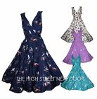 ANMOL KUSHI BIRD SWALLOW PRINT VINTAGE RETRO 50'S ROCKABILLY SWING FLARE DRESS