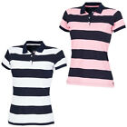 Front Row Womens Striped Collared Top Ladies Short Sleeved Polo Shirt Size S-XXL