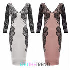 Womens V neck Celeb Inspired Sexy Lace Party Bodycon Knee Length Dress 8 - 14