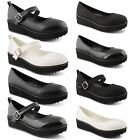 New Ladies Chunky Mid Heel Platform Flatform Mary Jane High Shoes UK Size 3-8