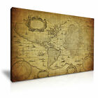WORLD MAP Atlantic Vintage Wall Art Print Framed Canvas Box ~ More Size
