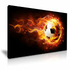 FOOTBALL On Fire Canvas Framed Printed Wall Art - More Size