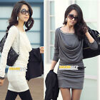 Autumn Winter Women Cocktail Party Office Long Sleeve Bodycon Casual Mini Dress
