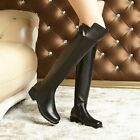 Women's Luxury Cow Leather Black Size Zip Riding Cuban Over The Knee Boots Shoes