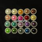 50x 16mm/21mm Rhinestone Pearl Button Flatback Wedding Invitation Hair Bow Craft