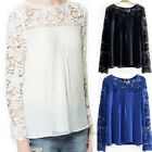 New 2014 Autumn Chiffon Hollow-carved Lace Long Sleeve Women Lady T-shirt Tops