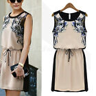 2014 Women Ladies Sleeveless Floral Evening Party Formal Chiffon Mini Vest Dress
