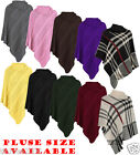 NEW WOMENS LADIES PONCHO ROUND NECK LONG STYLISH JUMPER CARDIGAN TOP PLUS SIZE