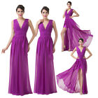 Purple V-Neck Long Chiffon Evening Gown Prom Party Formal Bridesmaid Dress 6-20