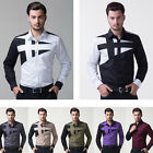 7 Colors New Men's Luxury Long Sleeve Splice Slim Fit Casual Formal Dress Shirts