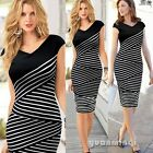 Fashion Ladies Striped Print Work Wear Evening Party Bandage Bodycon Midi Dress