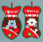 PET LOVER FABRIC RED TARTAN CHRISTMAS STOCKING FOR CATS OR DOGS FISH BONE SHAPED