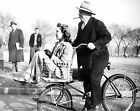 1942 VICTORY BICYCLE & STENOGRAPHER ON HANDLEBARS PHOTO Vintage