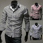 TOP GRADE TRENDY Mens Slim Fitted Long Sleeve Stripe Casual Shirts Dress Shirts