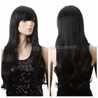 Long Wave Hair Brown or Black Women Girls Curly Wig Cosplay Full Wigs Free Cap