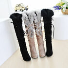 Women Chic Lace Up Strappy Fur Trim Slouch High Heel Winter Knee High Boots Size