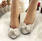 White Handmade Diamond Pearl Butterfly Knot Bridal  Bridesmaids Wedding Shoes
