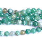 Natural Green Stripe Agate Gemstone Round Beads 15.5''Strand 4, 6, 8, 10, 12MM