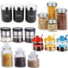 3PC 4PC CANISTER SET STAINLESS STEEL COFFEE TEA SUGAR JAR LID CANISTERS STORAGE