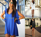 Fashion Women Loose Long Sleeve Chiffon Tops Blouse Mini Dress T-Shirt Casual