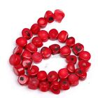 Red Natural Coral Gemstone Nugget Loose Spacer Beads 16'' Strand For Jewelry DIY