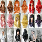 COOL!!Curly Halloween Costume Fancy Lady Hair Cosplay Dress Long 80cm Wigs +Cap
