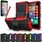 For Nokia Lumia 630 635 Hybrid Impact Armor Rugged Hard Case Cover Stand + Film