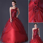 Luxury Red Party Bridesmaid Prom Evening Ball Gown Long Wedding Dress 1 Shoulder