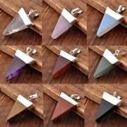1x Pyramid Healing Point Reiki Chakra Gems Stone Pendant For Necklace Chain Gift