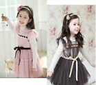 Xmas Party Girls Toddler Tulle Dress Princess Long Sleeve 2-7Y Kids Clothes Gift