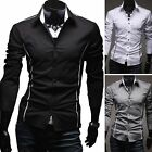 Muscle Shaping Men's Slim Fit Button Formal Long Sleeve Dress Shirts Tops Casual